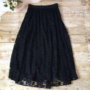 Lularoe Black Lace Maxi Skirt Size Medium